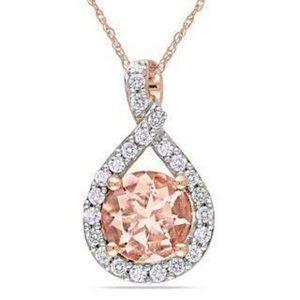 Jewelry - 12 Ct Prong Set Morganite With Diamonds Pendant 14